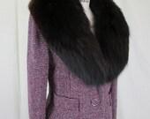 On Hold....1960s Fox Fur Trimmed Wool Tweed Jacket, Burgundy Black White