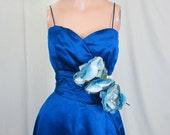 On HOLD....1950's Stunning Sapphire Blue Silk Bergdorf Goodman Ball Gown Sweetheart Neckline