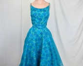 1950's Party Dress Blue Floral Organza Overlay Full Skirt Cocktail Dress Lord and Taylor