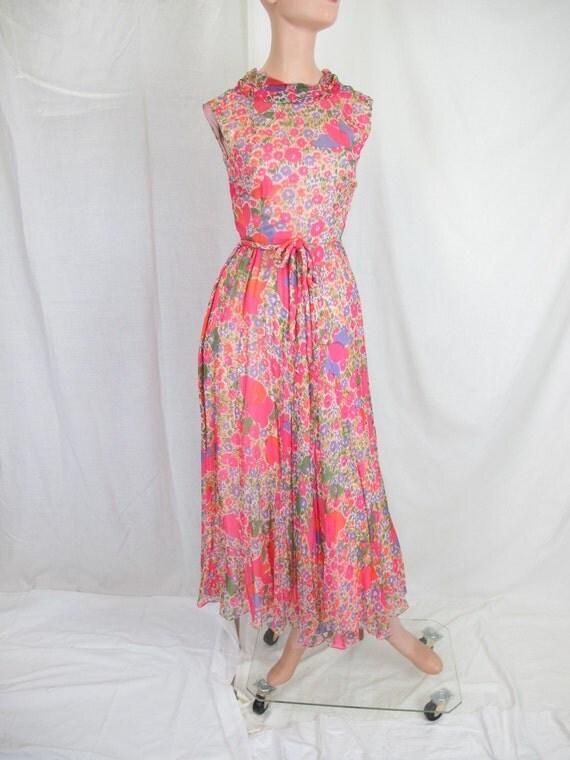 1960s Oscar de la Renta Floral Silk Chiffon Dress, Sleeveless Day Dress Cocktail Wedding
