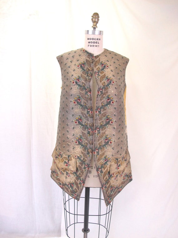On Hold......Mens 1770 to 1800  Antique Golden Waistcoat  Vest Silk and Chenille Embroidery Exquisite