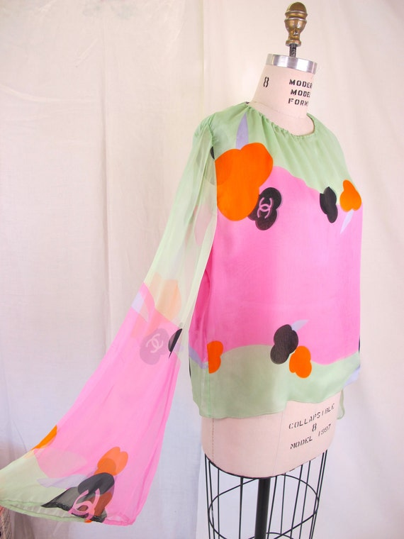On Hold....CHANEL Vintage Silk Chiffon Bell Sleeve Top Monogram Logo Lime Hot Pink