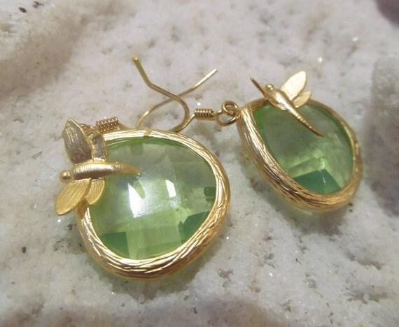 SALE Iridescent Green teardrop dangle dragonfly Earrings SALE