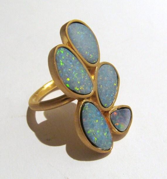 Custom Fiery Multi Opal Ring In 18k gold One of a kind