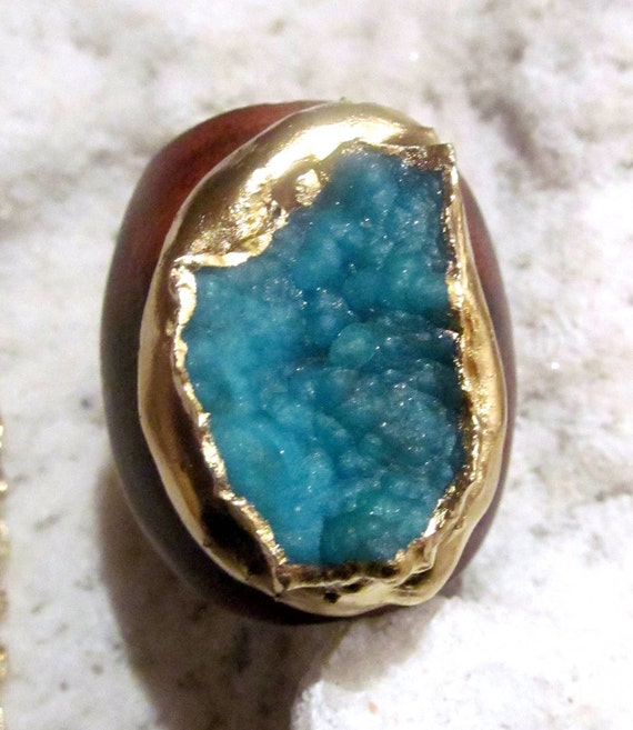 Tropical Blue hemimorphite and Gold ring Gorgeous
