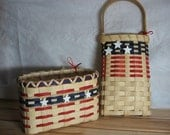 Clearance - Patriotic Basket Set - Napkin Basket and Matchstick Basket