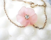 RESERVED Pink Pansy and Rhinestone Avon Necklace designed by Kenneth Lane