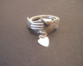 Vintage Unique Sterling Silver Keepsake Love Ring