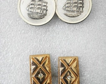 Vintage 2 Pair Cuff Links, Three Mast Boat and Goldtone Rectangle