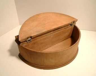 Unique Large Half Round Oak  Dresser Trinket Box