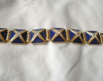 Hutton Wilkinson Blue Enamel Rhinestone Bracelet