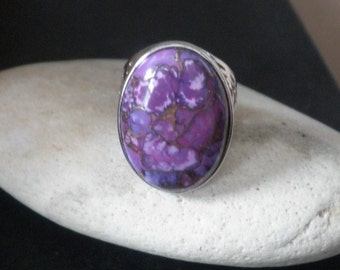 Unisex Sterling Natural Purple Turquoise Copper Gemstone Ring Retro 1960s