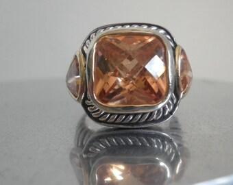 Sterling Citrine Cushion Cut Ring