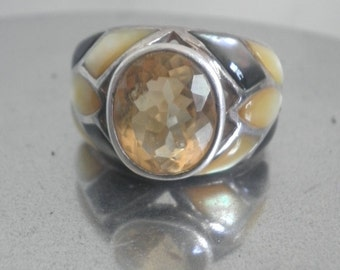 Sterling Cabochon Citrine Inlaid Ring