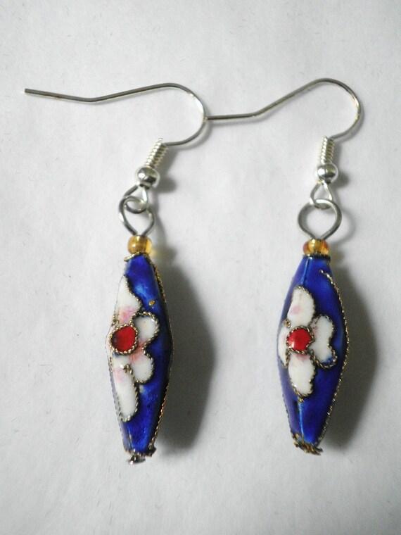Dangle Blue Chinese Cloisonné  Earrings