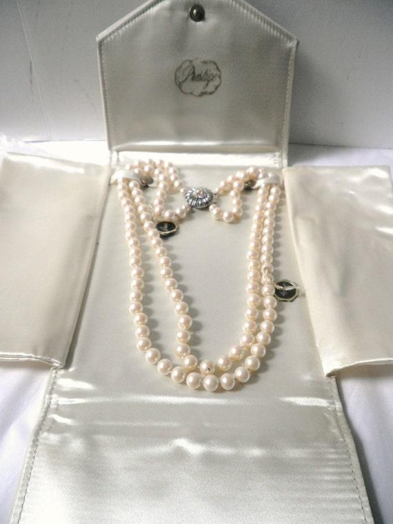 Prestige Double Strand Pearl Necklace Circa Late 1940 S