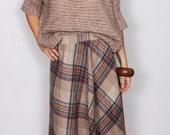 Vintage 70s Plaid Midi Skirt