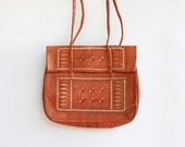 Vintage Moroccan Embroidered Leather Bag