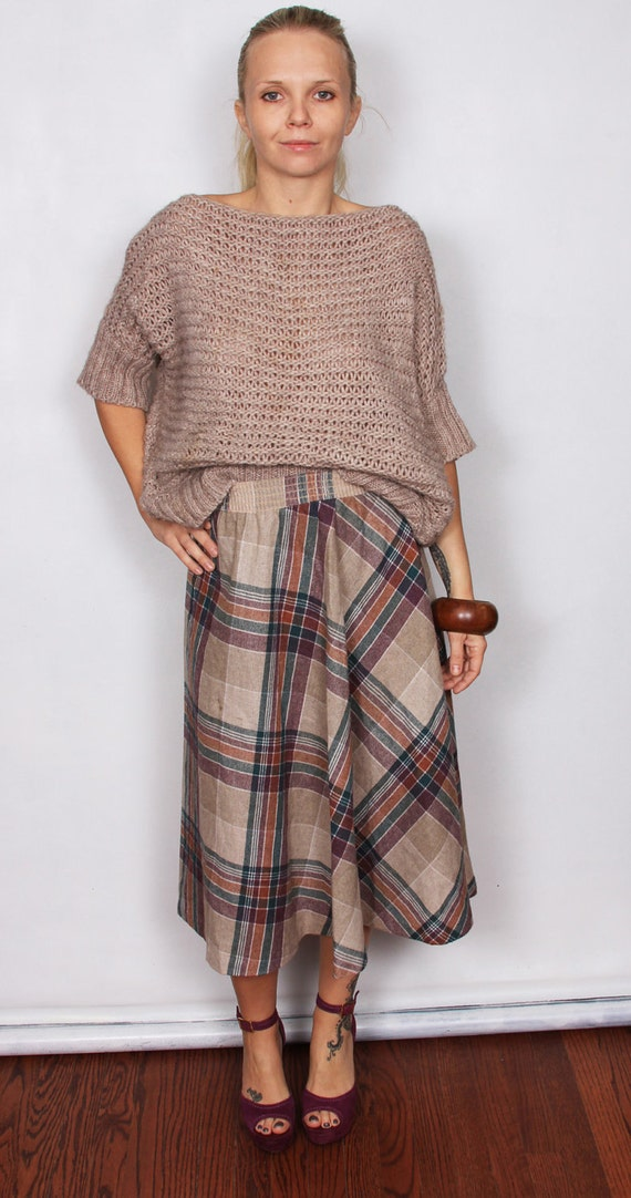 Vintage 70s Plaid Midi Skirt