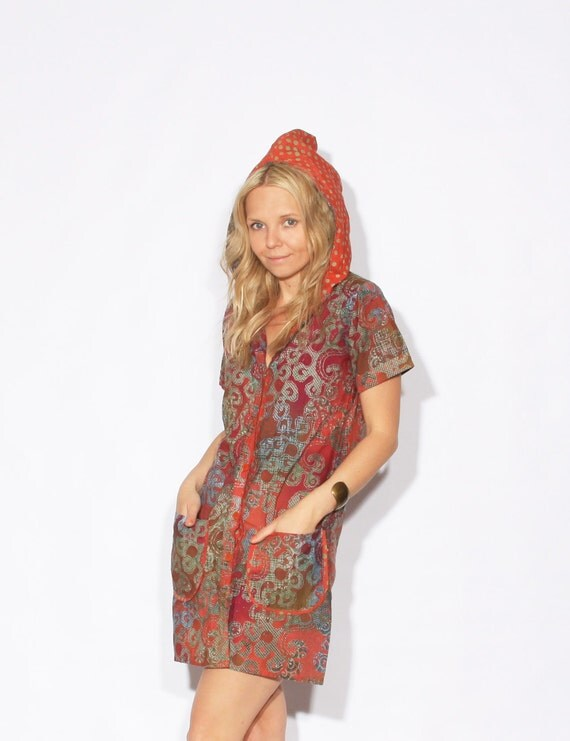 Vintage Batik Print Hooded Jumper