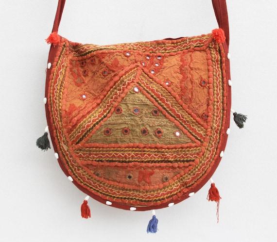 Vintage Boho Ethnic Mirrored India Bag