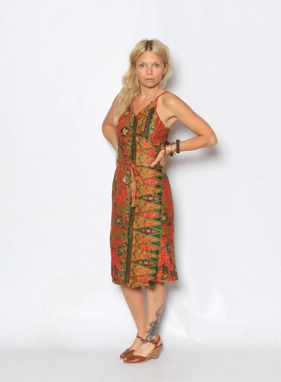 Vintage Batik Print Ethnic Wrap Dress
