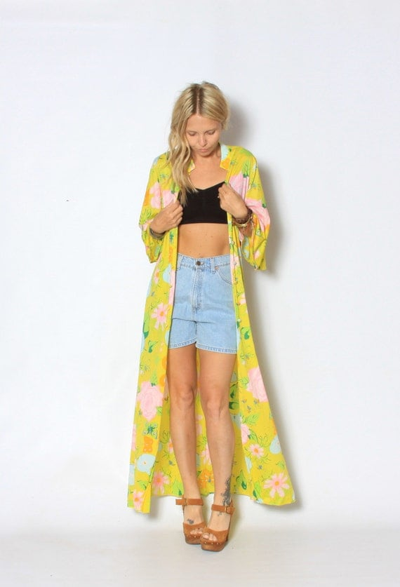 Vintage Ken Scott Printed 60s Yellow Butterfly Printed Kimono Jacket