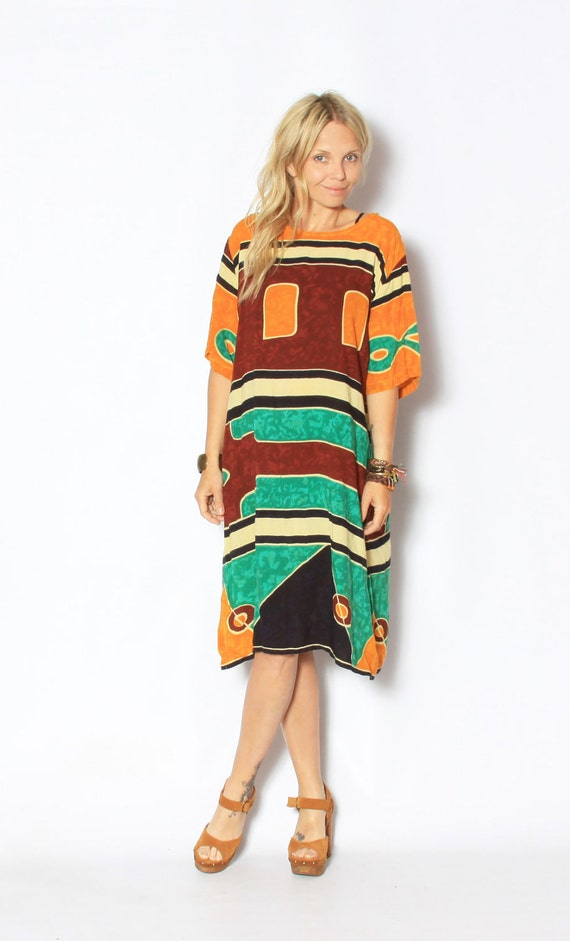 Vintage Oversize Tribal Print T Shirt Dress