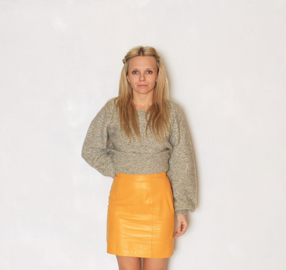 Vintage Yellow Leather Mini Skirt