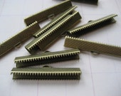 35mm or 1 3/8 inch light antique brass Ribbon Clamp End Crimps - 24 pc.