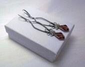 Sterling Silver Earrings Wine Drops - Swarovski Amethyst Crystallized polygon drop beads