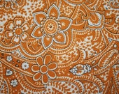 vintage fabric - retro pumpkin and buttercream paisley floral
