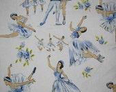 vintage fabric - beautiful ballet fabric - fat quarter