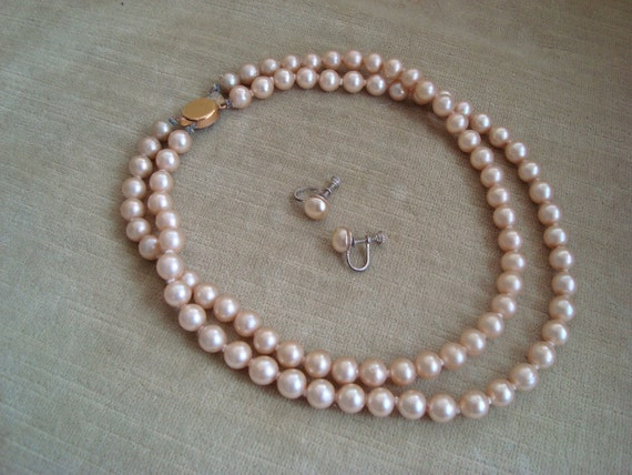 Champagne Faux Pearl Necklace and Earring Set