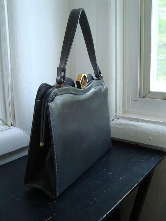 Large Grey 1950's Handbag by Dobbies Bags
