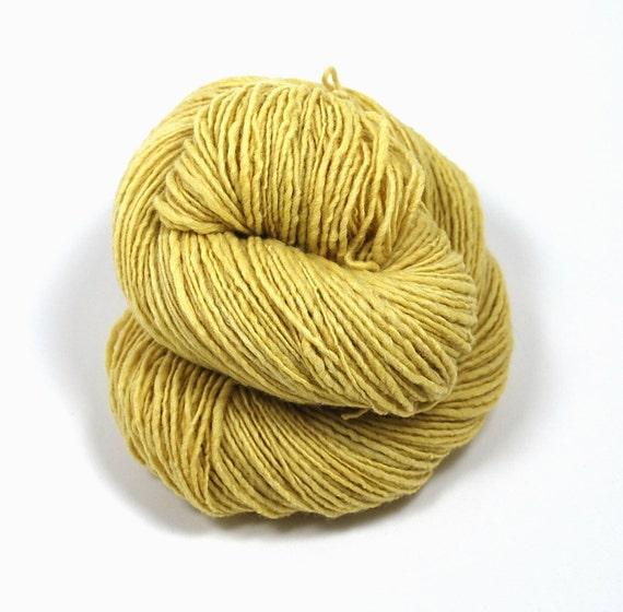 Handspun Naturally Hand Dyed 300 yards Single Ply Merino Yarn in Happy Days yellow