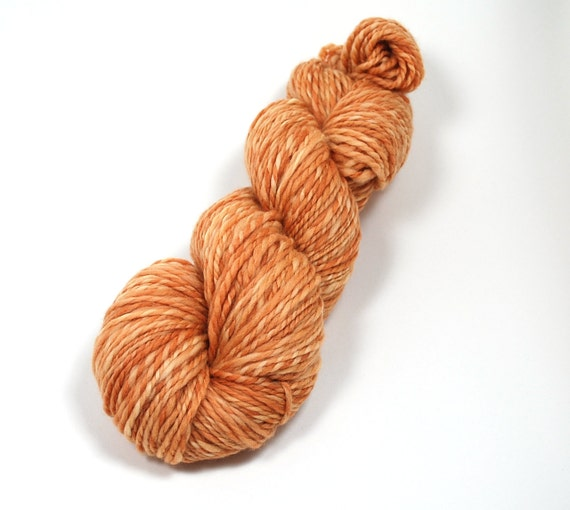 Handspun Naturally Hand Dyed 196 yards 2 Ply Superwash Merino Yarn in Tiger orange