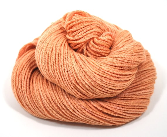 Hand Dyed Yarn Organic Merino Worsted Weight Naturally Dyed in Peach