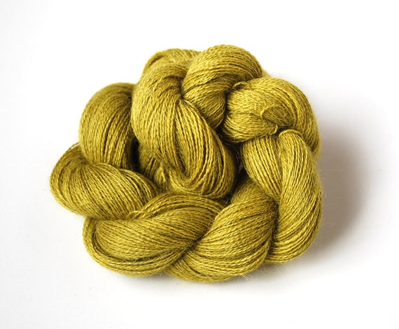 Naturally Dyed Alpaca Lace Weight Yarn in Olive