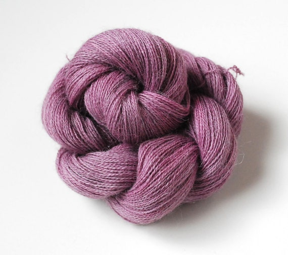 Hand Dyed Alpaca Lace Weight Yarn Naturally Dyed in Wild Huckleberry