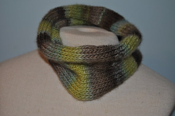 Knitted Neck Warmer. Green cowl. Infinity scarf. Shades of green circle scarf.