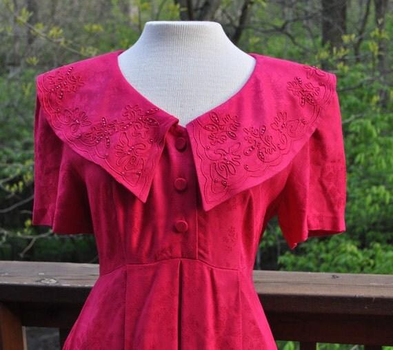 Vintage Day Dress. 1980s Fuchsia long Dress. Short Sleeved Dress by Karin Stevens.