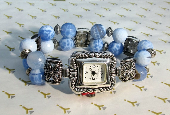 Watch Beaded Stretch Band Bracelet Blue Agate