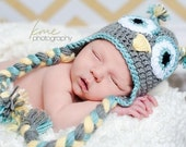 Owl hat, toddler hat, infant hat, Crochet owl hat, Custom made