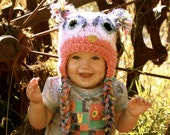 Owl hat, Toddler owl hat, Toddler hat, infant hat--custom made