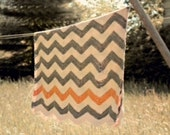 Chevron Crocheted Blanket, Chevron Throw, Chevron Blanket , Grey and yellow chevron