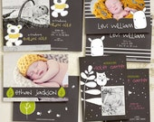 Animal Friends Flat Birth Announcement CARD templates for photographers