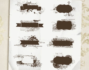 INSTANT DOWNLOAD - Grunge Banner Shapes Overlays