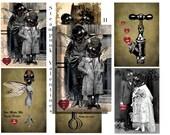 Steampunk Valentine Cards instant download