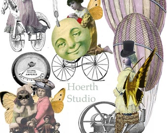 Steampunk fairies collage sheet and their Machines instant download